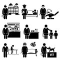 Medical healthcare hospital jobs occupations caree a set of human pictograms representing the and professions of people in the Royalty Free Stock Images