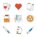 Medical and healthcare line icons set abstract of items surgery tools equipment medicine research diagnostics blood transfusion Stock Photography