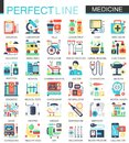 Medical and healthcare vector complex flat icon concept symbols for web infographic design.