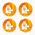 Medical heart pills bottle sign icon. Drugs. Royalty Free Stock Photo