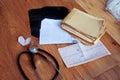 Medical history, ECG, X-rays, analyzes and stethoscope Royalty Free Stock Photo