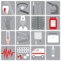 Medical icon in the flat style,set medical icons, flat design, gray with red