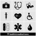 Medical icon set a of and health icons Royalty Free Stock Image