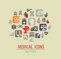 Medical icon set vector color on beige Stock Images