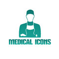 Medical icon with surgeon doctor Royalty Free Stock Photo