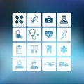 Medical icons collection of on a blurred background Royalty Free Stock Images
