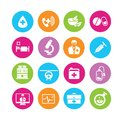 Medical icons in colorful round buttons Stock Images
