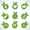 Medical icons and design with green leaf Royalty Free Stock Photo