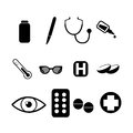 Medical icons different on white background Stock Images