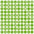 100 medical icons hexagon green Royalty Free Stock Photo