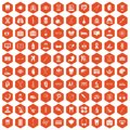 100 medical icons hexagon orange