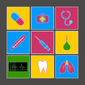 Medical icons multicolored set against a dark background Royalty Free Stock Photos