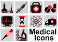 Medical icons set black and red on a light background Stock Images