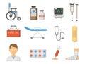 Medical icons set care ambulance hospital emergency human pharmacy vector illustration.