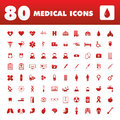 Medical icons a set of eighty unique with themes Stock Images