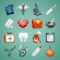 Medical icons set in the eps file each element is grouped separately clipping paths included in additional jpg format Royalty Free Stock Image
