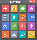 Medical icons set in flat style with long shadows vector application Royalty Free Stock Image