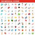 100 medical icons set, isometric 3d style