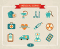Medical icons set of in a retro style Stock Images