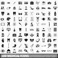 100 medical icons set in simple style