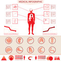Medical info graphic information with human body and internal organs Royalty Free Stock Images