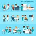 Medical infographic elements with doctor and patients treatments and examination flat pictograms with healthcare symbols
