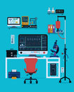 Medical instruments and devices with a blue background Royalty Free Stock Images