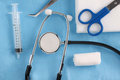 Medical Items and Stethoscope Royalty Free Stock Photo