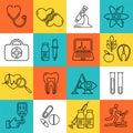Medical line style black icons. Medicine and health design modern linear symbols.