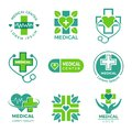 Medical logotypes. Medicine pharmacy clinic or hospital cross plus health care vector symbols design template