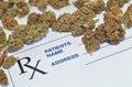 Medical marijuana buds with prescription paper photo of Stock Photos