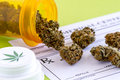 Medical marijuana buds and seeds spilling out of prescription bottle with branded lid onto blank prescription pad on green Stock Image