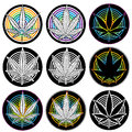 Medical marijuana leaf symbol badges and weed Royalty Free Stock Photos