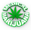 Medical Marijuana - Words and Leaf Icon Stock Photo
