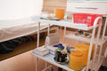 Medical movable bedside table with drawer Stock Photography