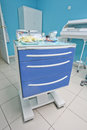 Medical movable bedside table with drawer Stock Image
