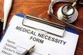 Medical Necessity form. Royalty Free Stock Photo