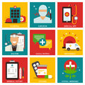 Medical nine flat items concept Royalty Free Stock Photo