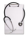 Medical notes on clipboard with stethoscope left blank for message Royalty Free Stock Images