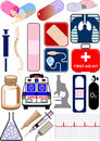 Medical objects, icons and logos Stock Photos