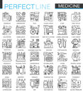 Medical outline concept symbols. Perfect thin line stroke icons. Healthcare modern linear style illustrations set.
