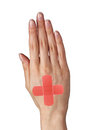 Medical patch on woman hand isolated on white Royalty Free Stock Photo