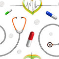 Medical pattern with stethoscope heart graph and pills abstract seamless texture art illustration Royalty Free Stock Image