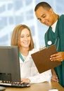 Medical People Checking Report Royalty Free Stock Photo