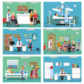 Medical personnel at work. Nurse doctor and patients in hospital interiors. Vector illustration Royalty Free Stock Photo