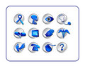 Medical & Pharmacy Icon Set - Blue-Silver Royalty Free Stock Photography