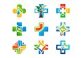 Medical pharmacy logo, health medicine plus icons, set of symbol natural herb vector design Royalty Free Stock Photo