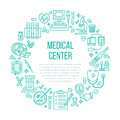 Medical poster template. Vector line icon, illustration of health check up center. Equipment - mri, cardiogram