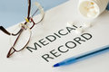 Medical record on blue background Royalty Free Stock Photos