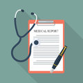 Medical report with stethoscope and pen Royalty Free Stock Photo